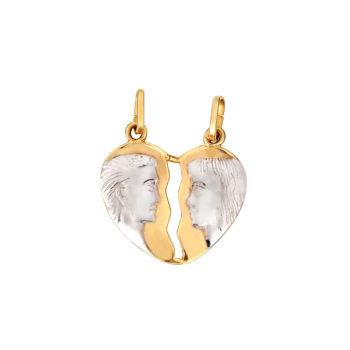 Μενταγιόν Άλλο Μισό Κίτρινος Και Ροζ Χρυσός Διπλής Όψης 14Κ 003212 2 Jewelor