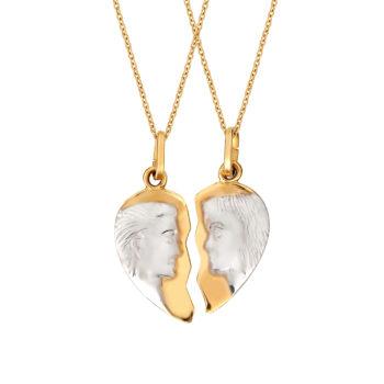 Μενταγιόν-Άλλο Μισό Κίτρινος Και Λευκός Χρυσός Διπλής Όψης 14Κ