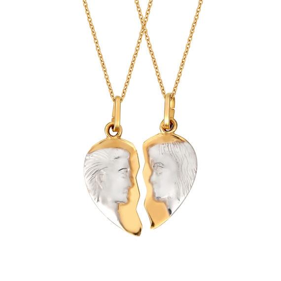 Μενταγιόν Άλλο Μισό Κίτρινος Και Ροζ Χρυσός Διπλής Όψης 14Κ 003212 Jewelor