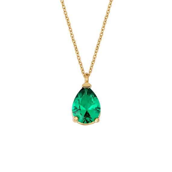 Μενταγιόν Χρυσό Με Συνθετικό Σμαράγδι 14Κ 003199 Jewelor