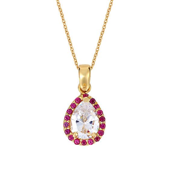 Μενταγιόν Δάκρυ Χρυσό Με Λευκό Και Χρωματιστό Ζιργκόν 003216 Jewelor