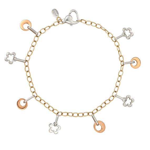 Μοντέρνο Βραχιόλι Αλυσίδα Λευκός Και Ροζ Χρυσός 14Κ 003210 Jewelor