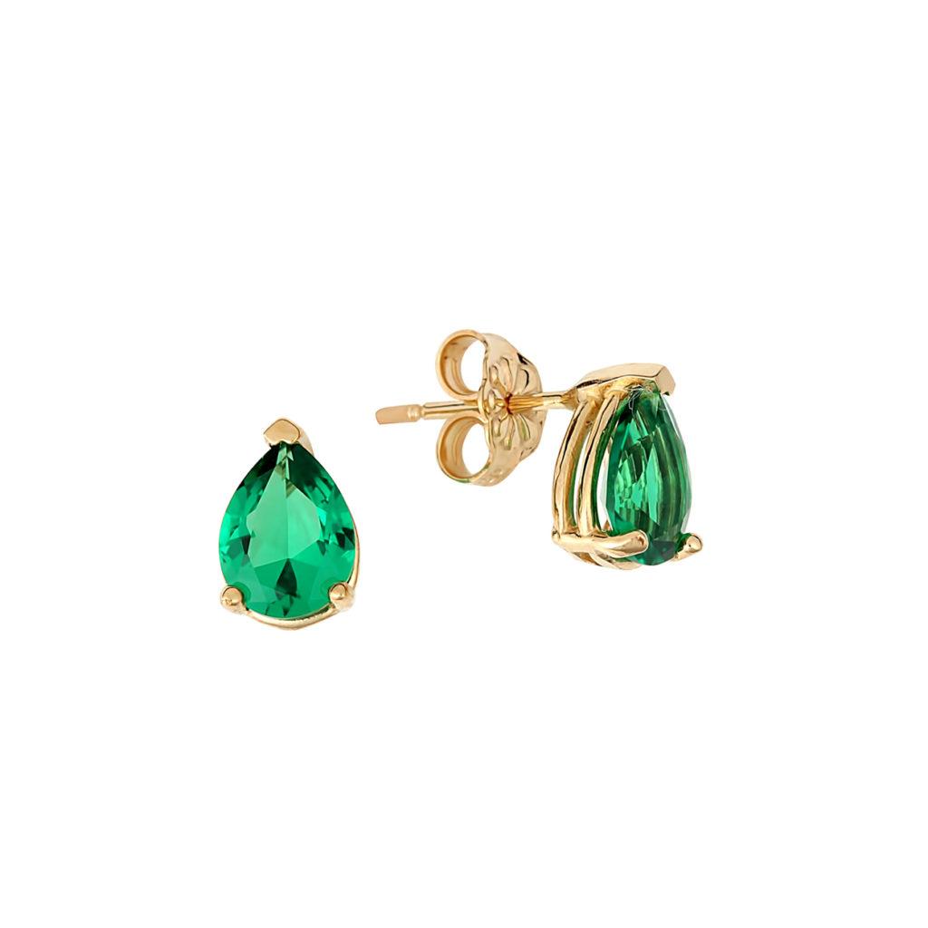 Σκουλαρίκια Χρυσά Με Συνθετικό Σμαράγδι 14Κ 003207 Jewelor