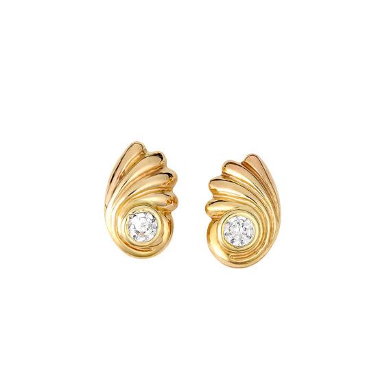 Σκουλαρίκια Κλασικά Χρυσά Με Ζιργκόν 14Κ 003204 Jewelor