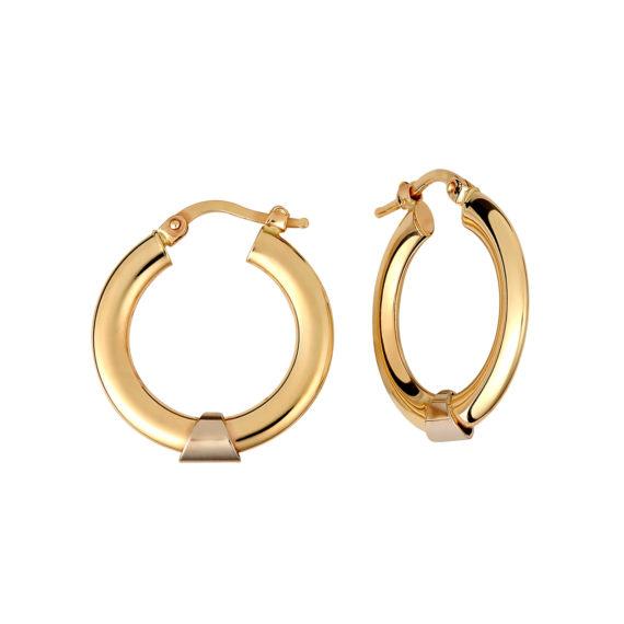 Σκουλαρίκια Κρίκοι Κίτρινος Και Ροζ Χρυσός 14Κ 003200 Jewelor