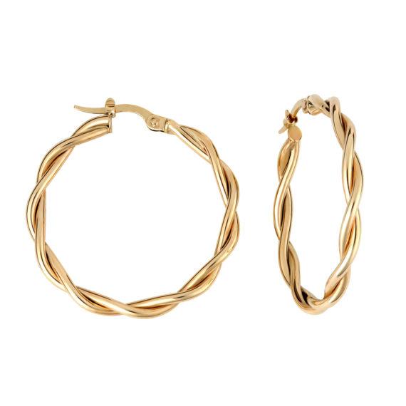 Σκουλαρίκια Κρίκοι Πλεκτά Χρυσά 003220 Jewelor