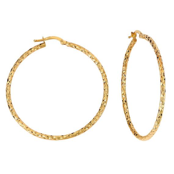 Σκουλαρίκια Κρίκοι Σφυρήλατα Χρυσά 003219 Jewelor