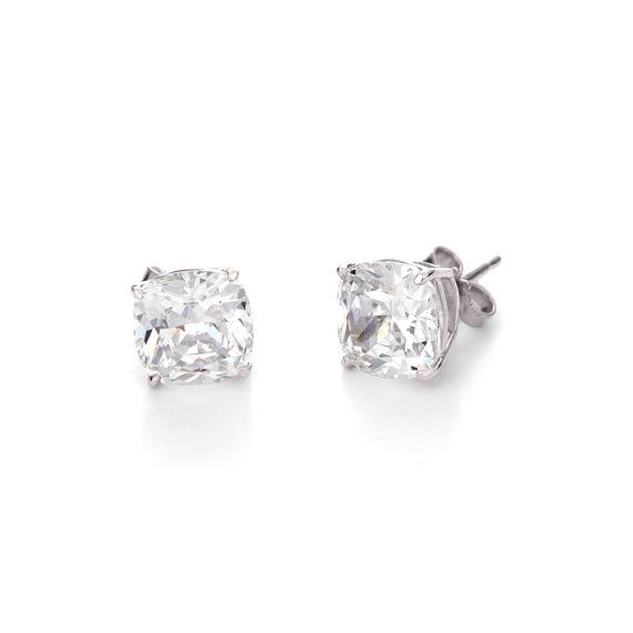 Σκουλαρίκια Κύβοι Λευκόχρυσα Με Ζιργκόν 14Κ 003205 Jewelor