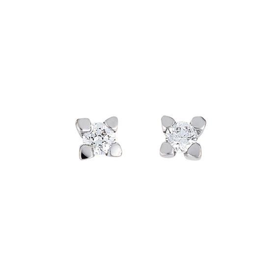 Σκουλαρίκια Λουλουδάκια Λευκόχρυσα 003225 Jewelor