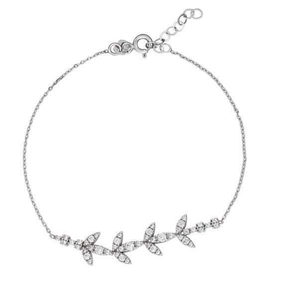 Βραχιόλι Φύλλα Λευκός Και Ροζ Χρυσός 14Κ 003211 Jewelor