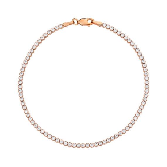 Βραχιόλι Ροζ Χρυσό Με Λευκό Ζιργκόν Σε Όλο Το Μήκος 14Κ 003209 Jewelor