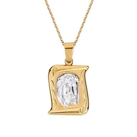 Φυλαχτό Ιησούς Χριστός Δίχρωμο Χρυσό Ανάγλυφο Διπλής Όψης 003256 Jewelor