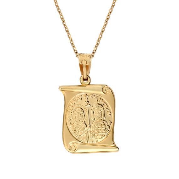 Φυλαχτό Ιησούς Χριστός Δίχρωμο Χρυσό Ανάγλυφο Διπλής Όψης 003256[2] Jewelor