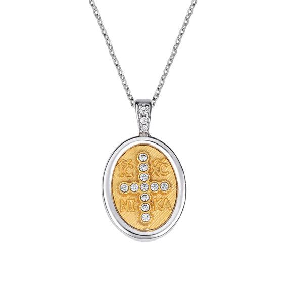 Φυλαχτό Ιησούς Χριστός Δίχρωμο Χρυσό Ζαγρέ Με Ζιργκόν 003255 Jewelor