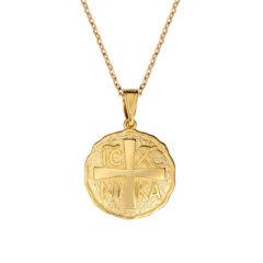 Φυλαχτό Ιησούς Χριστός Ζαγρέ Ανάγλυφο Χρυσό Διπλής Όψης