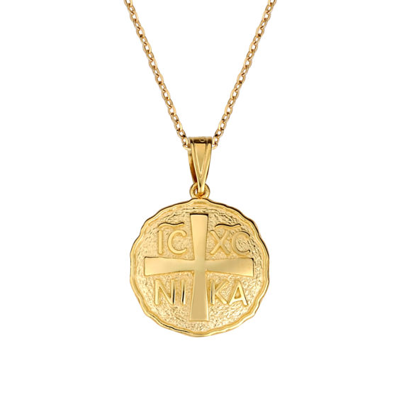 Φυλαχτό Ιησούς Χριστός Ζαγρέ Ανάγλυφο Χρυσό Διπλής Όψης 003261 Jewelor
