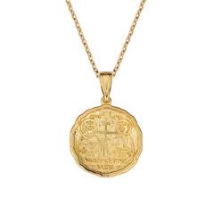 Φυλαχτό Ιησούς Χριστός Ζαγρέ Ανάγλυφο Χρυσό Διπλής Όψης 003261[2] Jewelor
