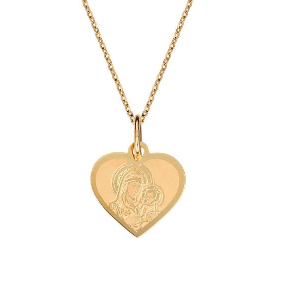 Φυλαχτό Καρδιά Παναγία Ανάγλυφο Δίχρωμο Χρυσό 003254 Jewelor