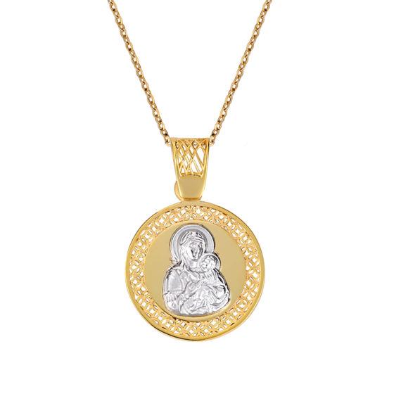 Φυλαχτό Παναγία Ζώδιο Διάτρητο Και Ανάγλυφο Δίχρωμο Χρυσό Διπλής Όψης 003257 Jewelor