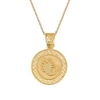 Φυλαχτό Παναγία Ζώδιο Διάτρητο Και Ανάγλυφο Δίχρωμο Χρυσό Διπλής Όψης 003257[2] Jewelor