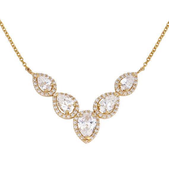 Κλασικό Κρεμαστό Σταγόνες Χρυσό Με Ζιργκόν 003230 Jewelor
