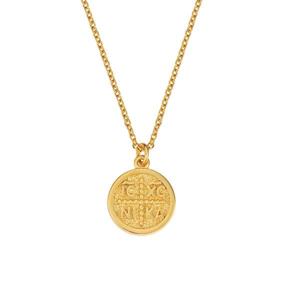 Κωνσταντινάτο Φυλαχτό Ιησούς Χριστός Ανάγλυφο Χρυσό Διπλής Όψης 003231 Jewelor