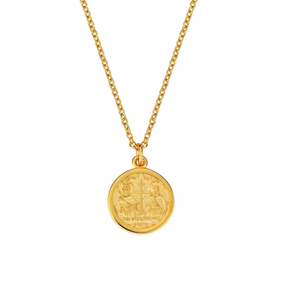 Κωνσταντινάτο Φυλαχτό Ιησούς Χριστός Ανάγλυφο Χρυσό Διπλής Όψης 003231[2] Jewelor
