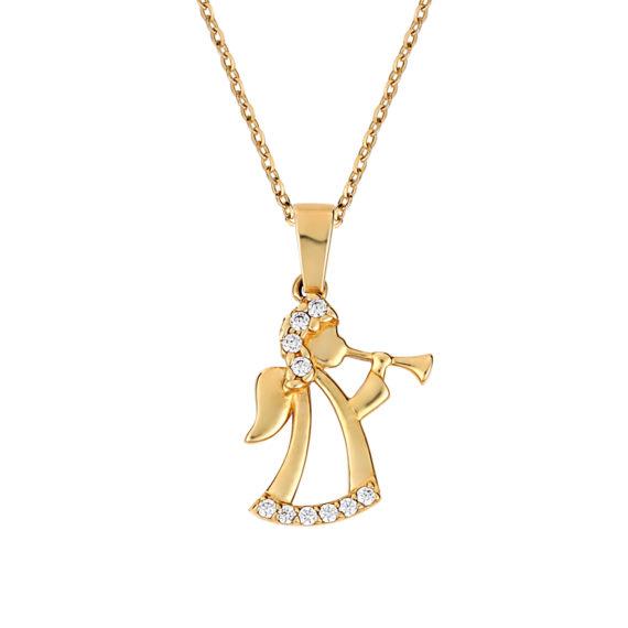 Κρεμαστό Αγγελάκι Χρυσό Με Ζιργκόν 003268 Jewelor