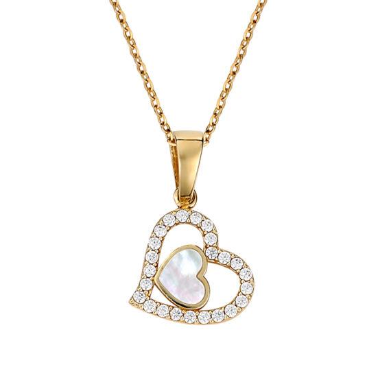 Κρεμαστό Διπλή Καρδούλα Χρυσό Με Ζιργκόν Και Σμάλτο 003267 Jewelor