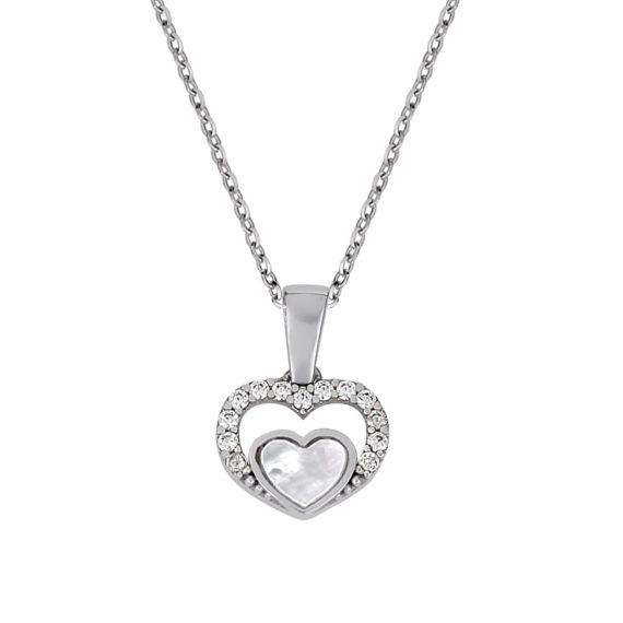Κρεμαστό Διπλή Καρδούλα Λευκόχρυσο Με Ζιργκόν Και Σμάλτο 003266 Jewelor