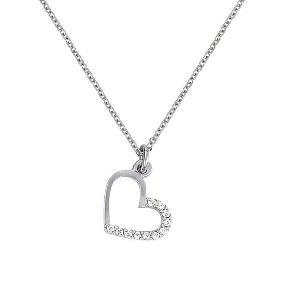 Κρεμαστό Καρδούλα Λευκόχρυσο Με Ζιργκόν 003265 Jewelor