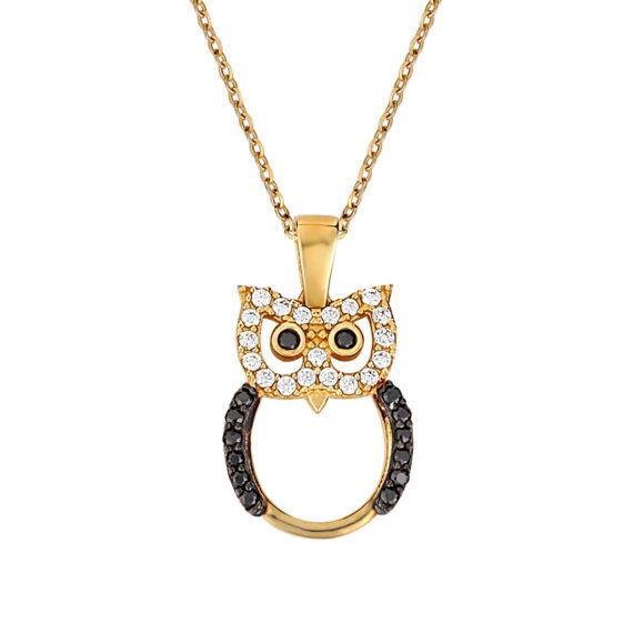 Κρεμαστό Κουκουβάγια Χρυσό Με Ζιργκόν 003270 Jewelor