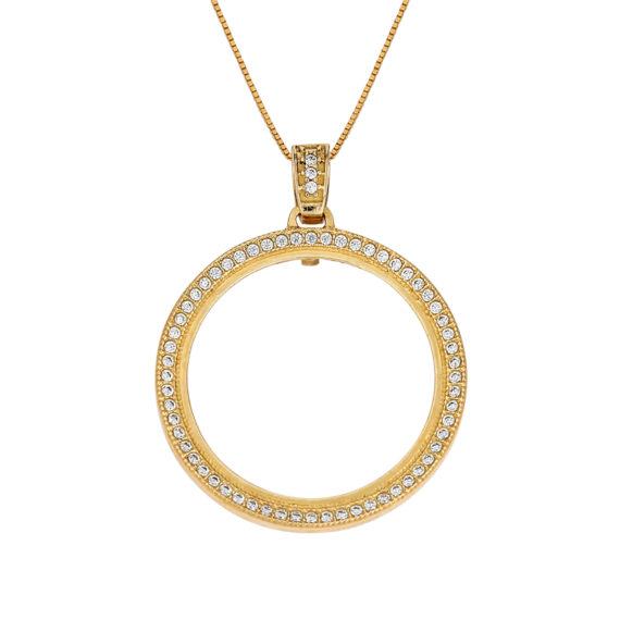 Κρεμαστό Κρίκος Χρυσό Με Ζιργκόν 003264 Jewelor