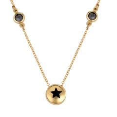 Κρεμαστό-Μαύρο Αστέρι Χρυσό Με Ζιργκόν