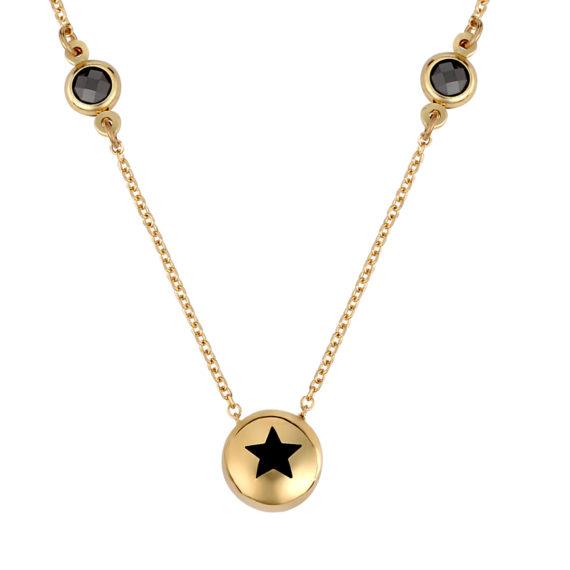 Κρεμαστό Μαύρο Αστέρι Χρυσό Με Ζιργκόν 003253 Jewelor