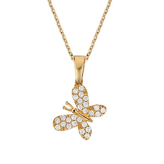 Κρεμαστό Πεταλούδα Χρυσό Με Ζιργκόν 003269 Jewelor