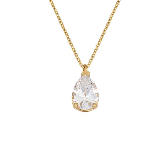 Μενταγιόν Δάκρυ Χρυσό Με Ζιργκόν 003229 Jewelor