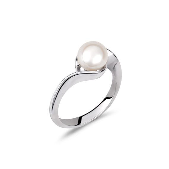Μονόπετρο Μοντέρνο Λευκόχρυσο Με Μαργαριτάρι 003238 Jewelor