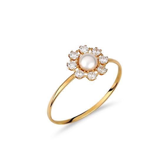 Μονόπετρο Ροζέτα Λεπτό Χρυσό Με Ζιργκόν 003236 Jewelor
