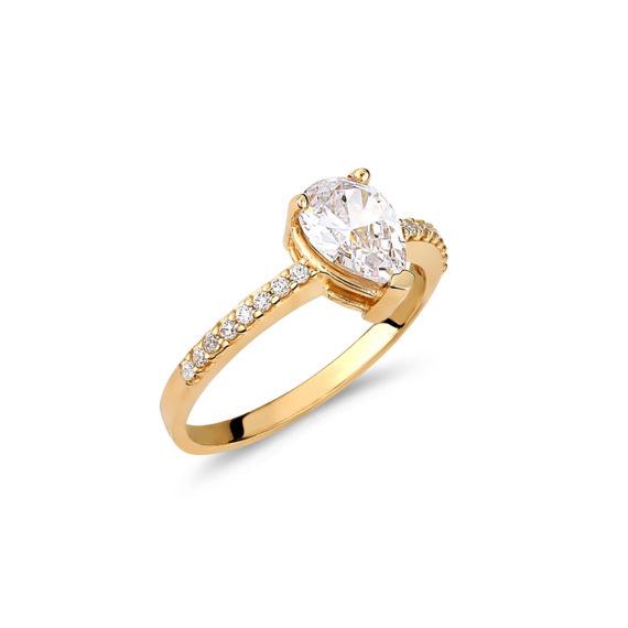 Μονόπετρο Σειρέ Χρυσό Με Ζιργκόν 003235 Jewelor
