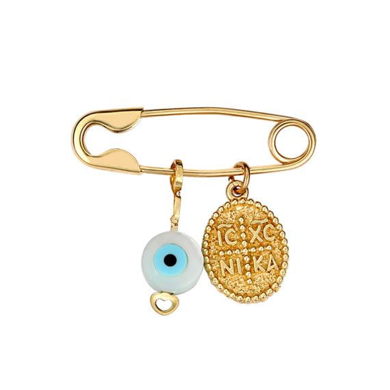 Παραμάνα Ματάκι Ιησούς Χριστός Χρυσή Με Σμάλτο Διπλής Όψης 003258 Jewelor