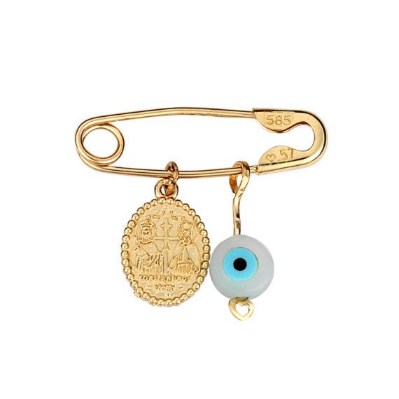 Παραμάνα Ματάκι Ιησούς Χριστός Χρυσή Με Σμάλτο Διπλής Όψης 003258[2] Jewelor
