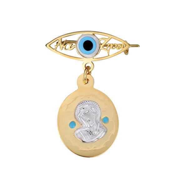 Παραμάνα Ματάκι Παναγία Δίχρωμη Χρυσή Με Σμάλτο Και Ευχή Μπλε 003259 Jewelor
