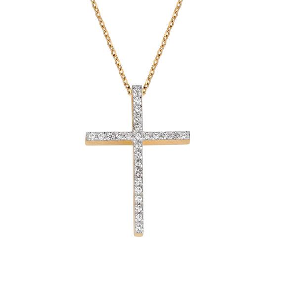 Σταυρός Χρυσός Με Ζιργκόν Σε Όλο Το Μήκος 003251 Jewelor
