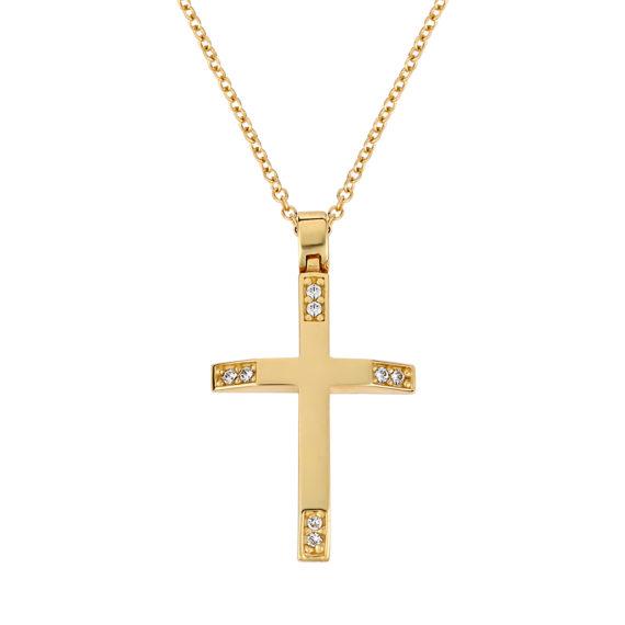 Σταυρός Πομπέ Χρυσός Με Ζιργκόν 003248 Jewelor