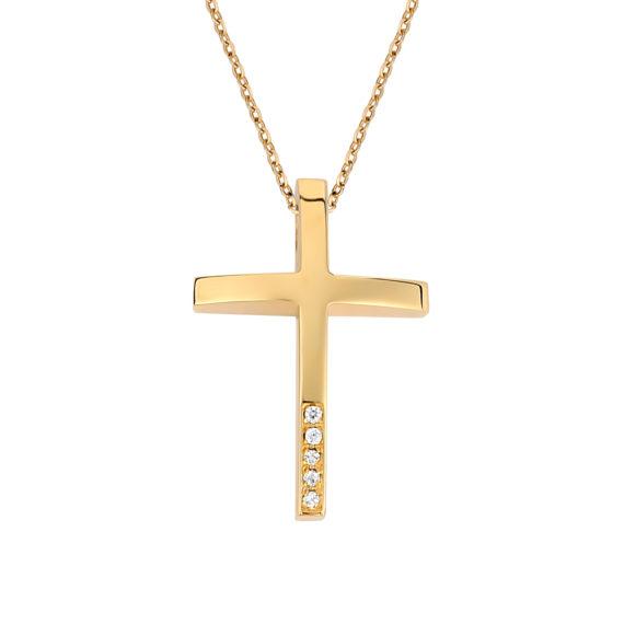 Σταυρός Πομπέ Χρυσός Με Ζιργκόν 003250 Jewelor