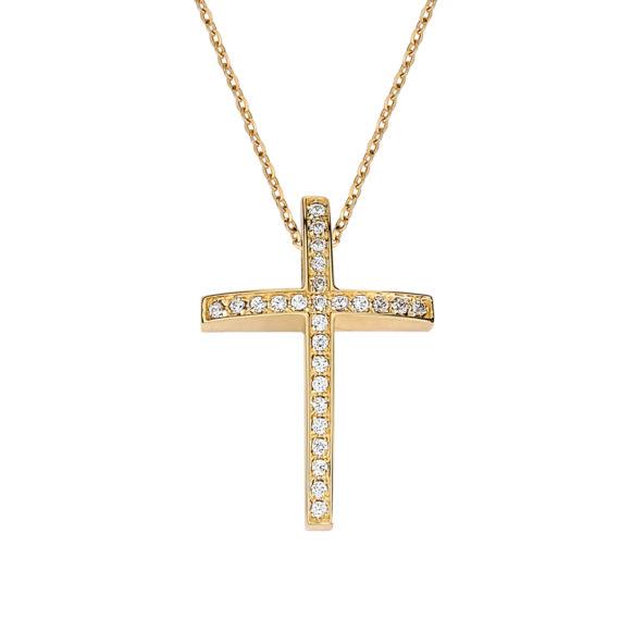 Σταυρός Πομπέ Χρυσός Με Ζιργκόν Σε Όλο Το Μήκος 003249 Jewelor