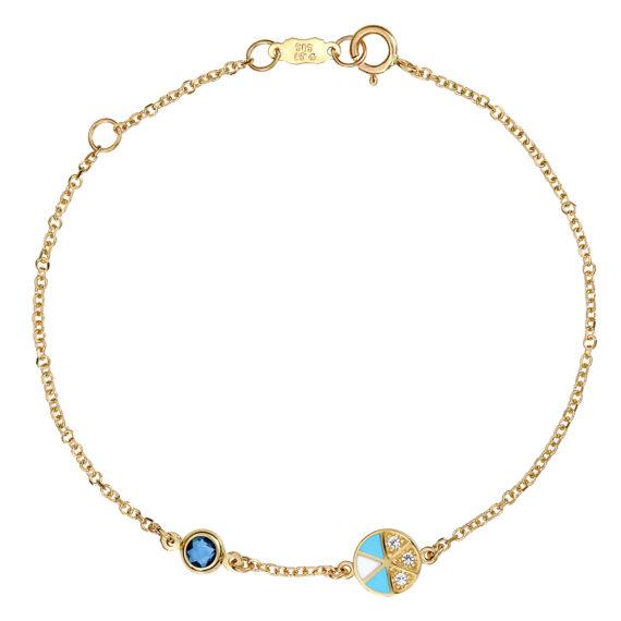 Βραχιόλι Αλυσίδα Χρυσό Με Ζιργκόν Και Σμάλτο 003245 Jewelor