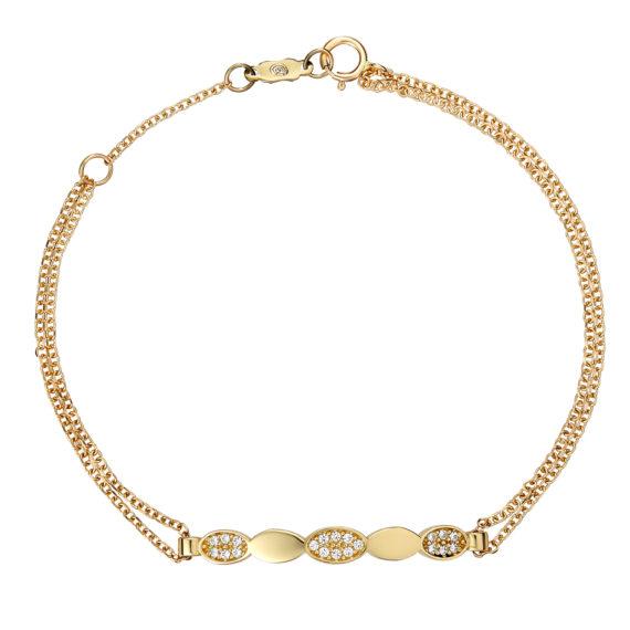 Βραχιόλι Αλυσίδα Διπλή Χρυσό Με Ζιργκόν 003242 Jewelor