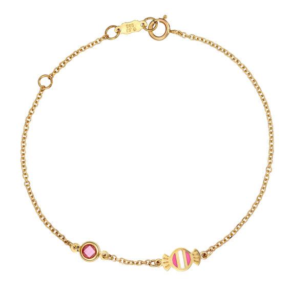 Βραχιόλι Αλυσίδα Καραμέλα Χρυσό Με Ζιργκόν Και Σμάλτο 003240 Jewelor